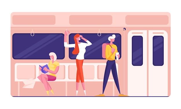 Personagens masculinos e femininos no metrô urbano subterrâneo.