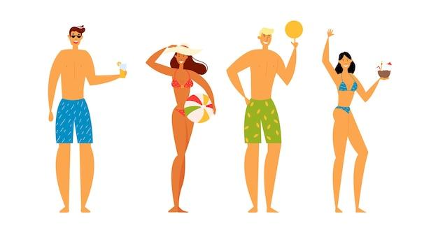 Personagens masculinos e femininos passam o tempo na praia de resort exótico
