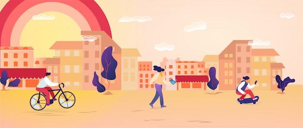 Personagens masculinos e femininos passam tempo ao ar livre, andar de bicicleta, skate, usando gadgets.