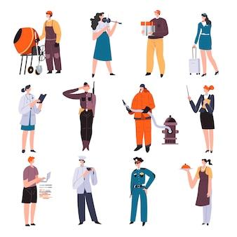Personagens masculinos e femininos trabalhando em diferentes profissões