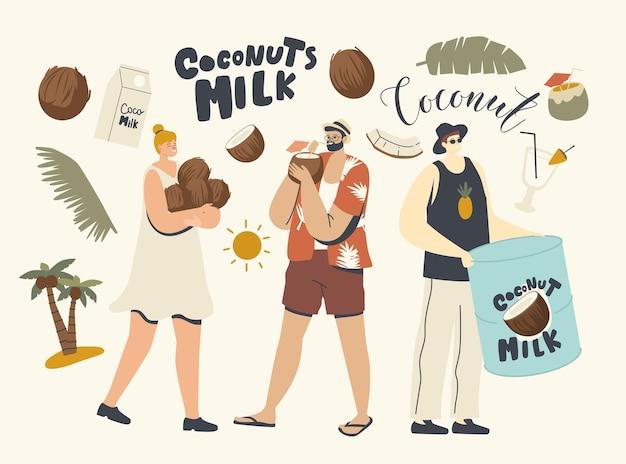 Personagens masculinos e femininos usam coco para comer e cozinhar. homem bebendo suco no resort tropical, leite vegan, nutrição natural saudável, bebida saborosa, refrescante. ilustração em vetor de pessoas lineares