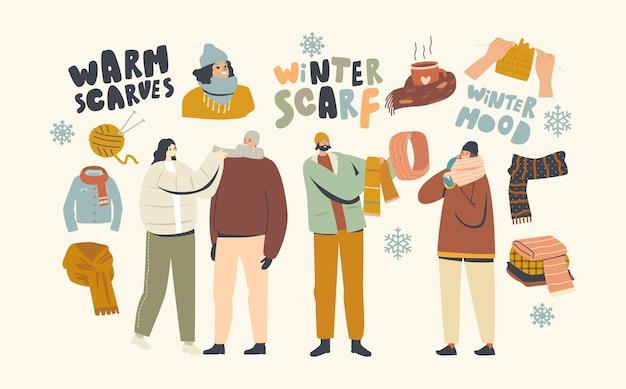 Personagens masculinos e femininos usando lenços de lã feitos à mão e capuzes para o inverno frio ou clima de outono. jovens com roupas quentes para caminhadas ao ar livre, moda. ilustração vetorial linear