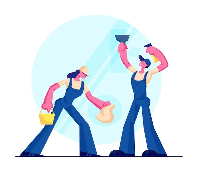 Personagens masculinos e femininos vestindo macacões de uniforme azul, lavando e limpando janelas com pano