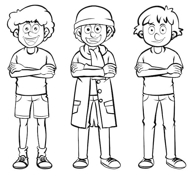 Personagens masculinos em três trajes