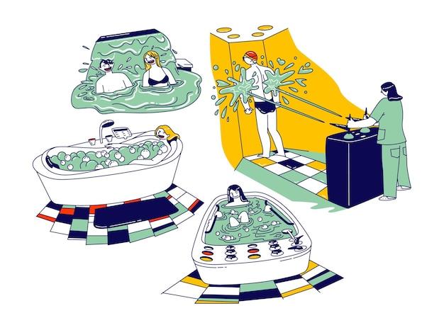 Personagens masculinos, femininos, desfrutando de hidromassagem no salão de beleza ou sanatório.