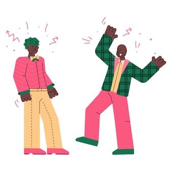 Personagens masculinos lutando e brigando. ilustração em vetor esboço isolada