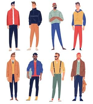 Personagens masculinos. pessoas do sexo masculino elegante olhar de rua, roupas da moda da moda, roupas casuais hipster, negócios, esporte e estilos livres. definir
