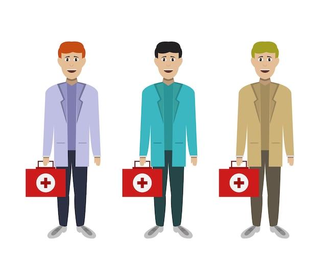 Personagens médicos com mala de urgência