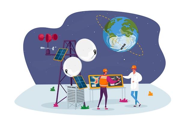 Personagens meteorologistas na estação meteorológica perto da torre de transmissão com satélite na órbita terrestre