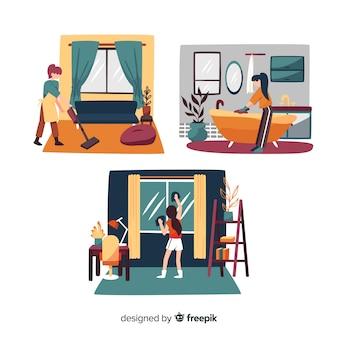 Personagens minimalistas, fazendo o conjunto de tarefas domésticas