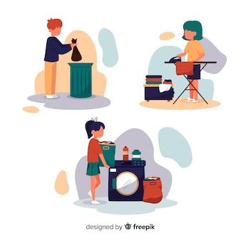 Personagens minimalistas fazendo trabalho doméstico