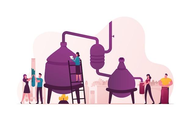 Personagens minúsculos criam novo líquido de destilação de receita no aparelho para extração de óleo essencial no laboratório.