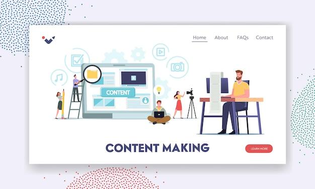 Personagens minúsculos criando conteúdo, redação, modelo de página de destino de marketing. redator, escritor, freelancer, gerente de smm, profissional de marketing digital criar postagem de anúncio. ilustração em vetor desenho animado