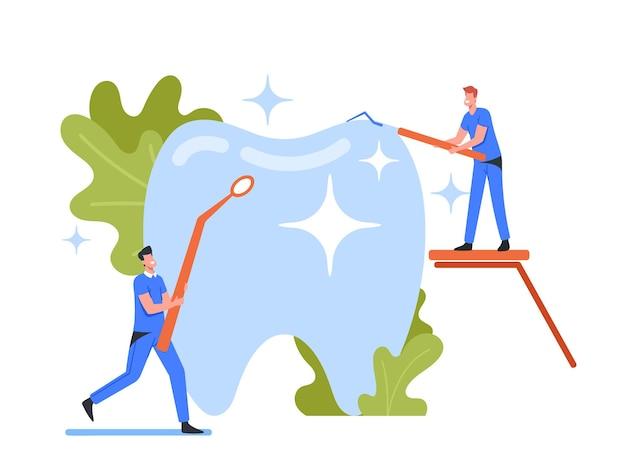 Personagens minúsculos de dentistas verificando se há buraco de cárie no dente na placa. os médicos detêm instrumentos de estomatologia, entalhador e espelho. medicina dentária, tratamento odontológico de dentes. ilustração em vetor desenho animado