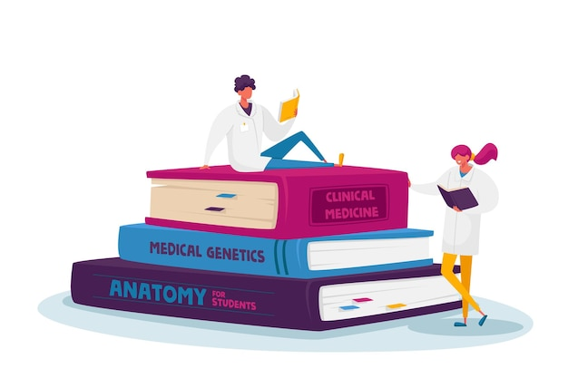 Personagens minúsculos de estagiários de medicina em white robe estudando disciplinas de medicina