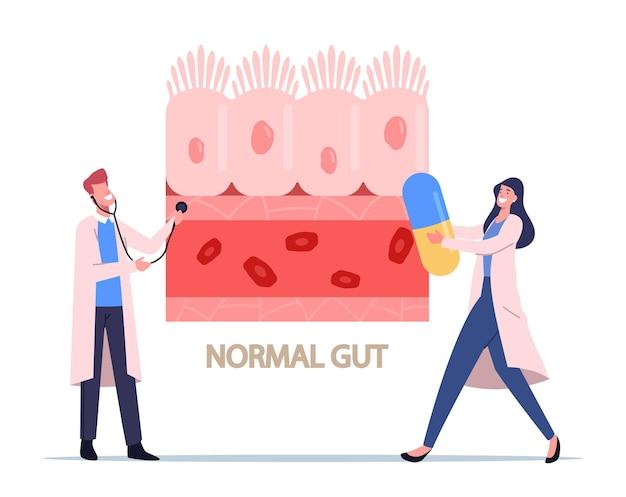 Personagens minúsculos de médicos com estetoscópio e pílula enorme apresentando células intestinais saudáveis e tecido do trato gastrointestinal normal, consciência da síndrome do intestino gotejante