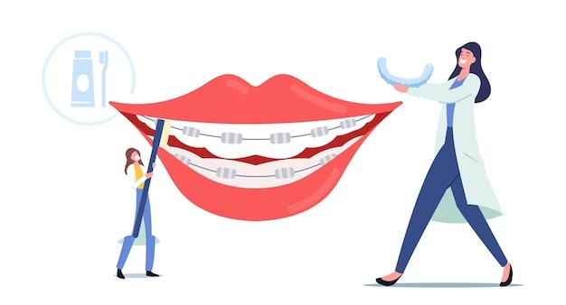 Personagens minúsculos de médicos dentistas instalam aparelho dentário em dentes enormes de pacientes, tratamento ortodontista