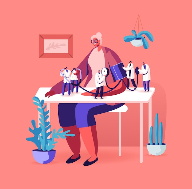 Personagens minúsculos de médicos medindo a pressão arterial com tonômetro na mulher idosa sentada à mesa. ilustração plana dos desenhos animados