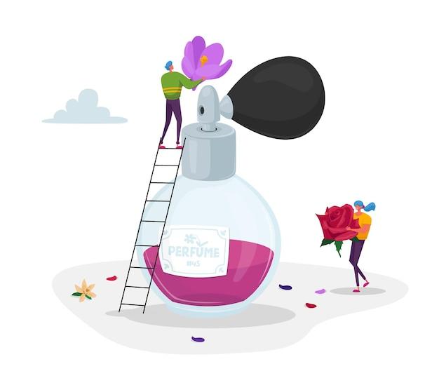 Personagens minúsculos de perfumistas segurando flores enormes ingredientes para a criação de um novo perfume