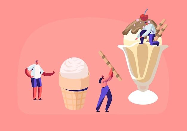 Personagens minúsculos decoram sorvete com doces e frutas vermelhas.