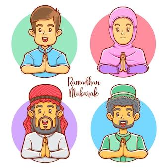 Personagens muçulmanos cumprimentando ilustração de ramadhan mubarak