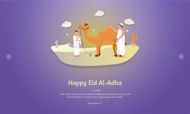 Personagens muçulmanos e camelos para o conceito de saudação eid al adha