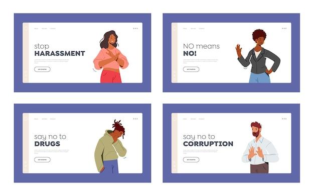 Personagens multirraciais que mostram modelo de página de destino de recusa ou gesto de parar