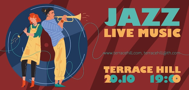 Personagens música banda, jazz, rock, blues elegante banner cartaz web conceito online.