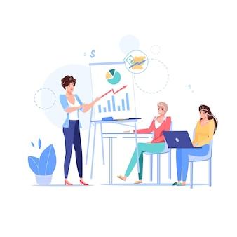 Personagens no curso de negócios de educação