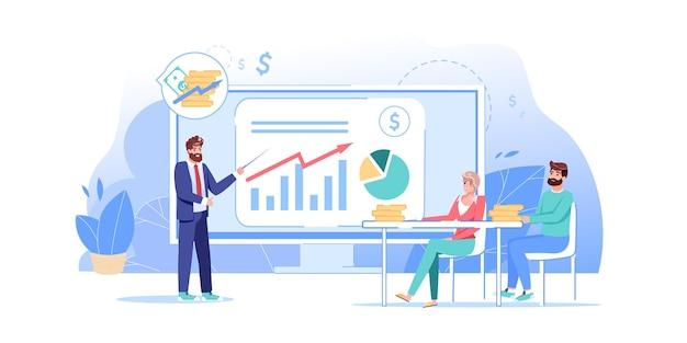 Personagens no curso de negócios online de educação