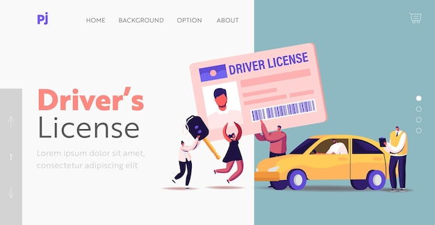 Personagens obtendo modelo de página inicial de carteira de motorista. permissão para homens e mulheres minúsculos que estudam na escola com o instrutor, aprendem a dirigir o carro e são aprovados nos exames. ilustração em vetor desenho animado