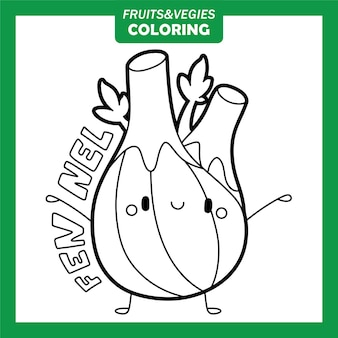 Personagens para colorir vegetais e frutas funcho