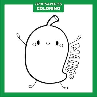 Personagens para colorir vegetais e frutas. manga