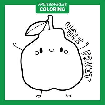 Personagens para colorir vegetais e frutas ugli fruit