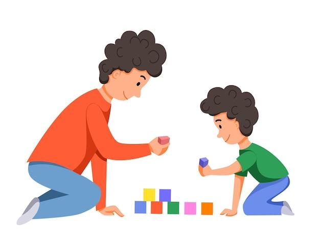 Personagens para o dia dos pais pai e filho jogam juntos com dados constroem um castelo