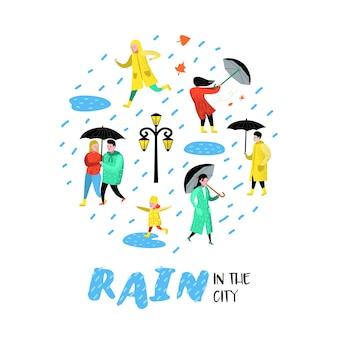 Personagens pessoas caminhando na chuva