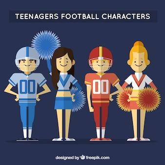 Personagens planas adolescentes futebol