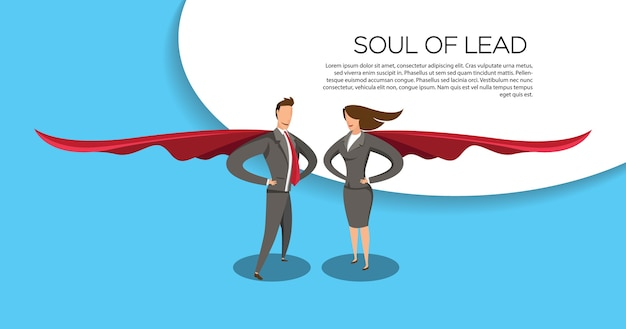 Personagens planas de herói de negócios