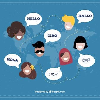 Personagens planas falando idiomas diferentes