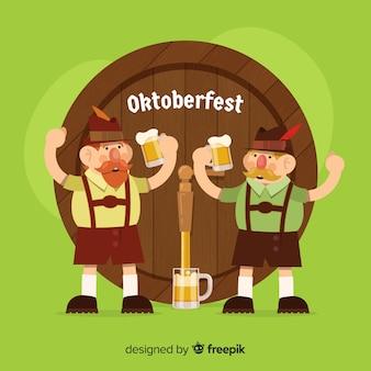 Personagens planas felizes comemorando o oktoberfest