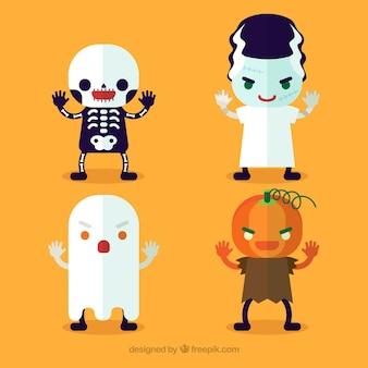 Personagens planas para o dia das bruxas