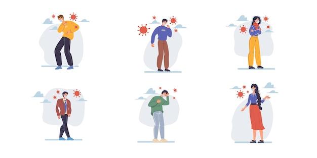 Personagens planos de desenhos animados mostram sintomas de sinais de coronavírus