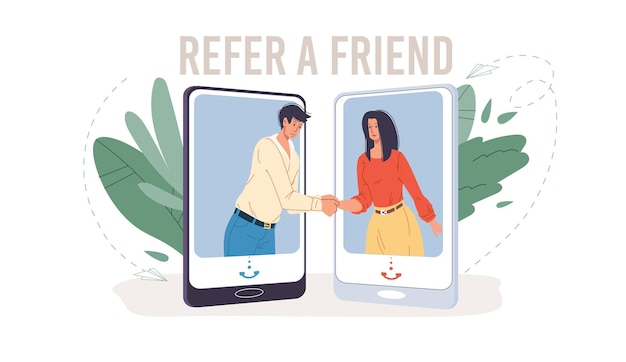 Personagens planos de desenhos animados se familiarizam no serviço de indicação de um amigo.