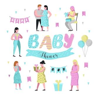 Personagens planos de jovem mãe grávida com balões