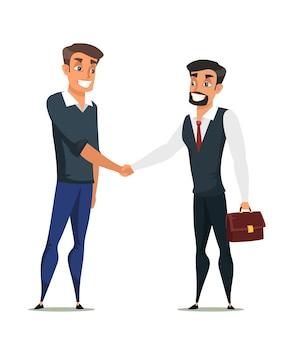 Personagens planos do comprador e do agente imobiliário. ilustração do aperto de mão do cliente e do vendedor, acordo comercial bem-sucedido, negociações
