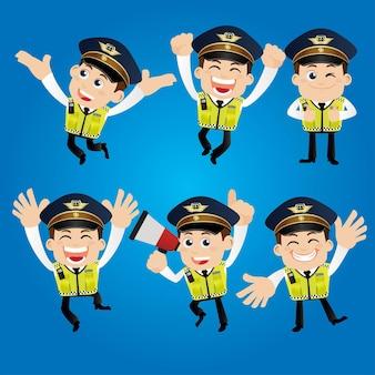 Personagens policiais em diferentes poses