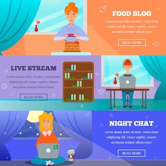 Personagens populares de blogueiros postam tópicos 3 banners horizontais com fluxo de vida, bate-papo noturno, culinária