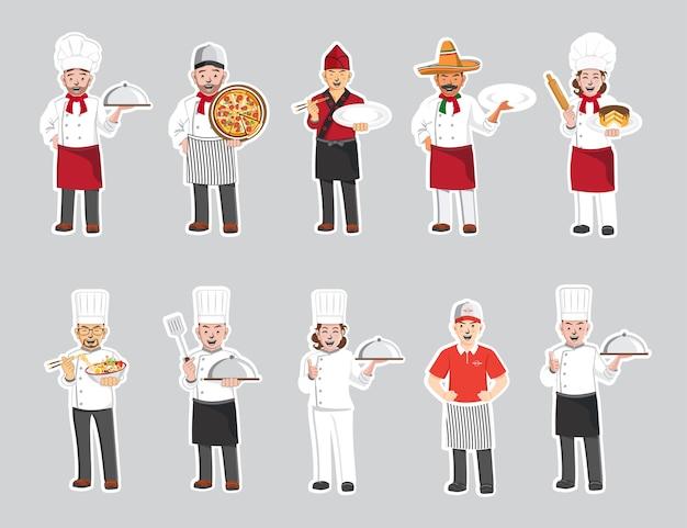 Personagens profissionais do chef, personagem de desenho animado.