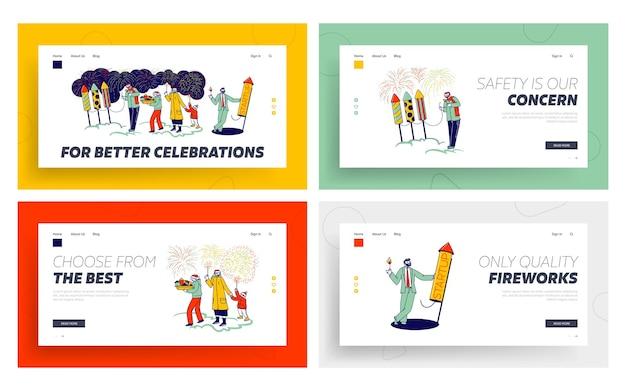 Personagens que apreciam fogos de artifício mostram o conjunto de modelos da página inicial.