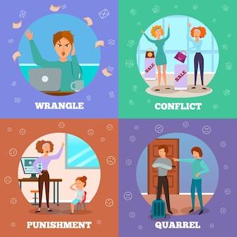Personagens que expressam raiva em situação de conflito punindo crianças brigando e discutindo conceito de 4 ícones de desenho animado isolado